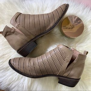 Restricted Perforated Tan Booties Sz 7.5